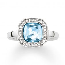 THOMAS SABO Silver Square Blue Cubic Zirconia Ring TR2029-059-1