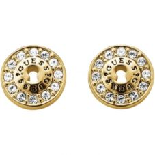 Guess Gold Plated Pavé Crystal Lock Studs UBE71330
