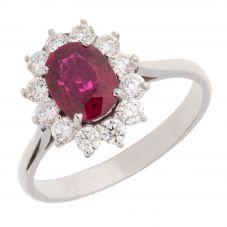 18ct White Gold Oval Ruby Ring V56/R/0119931C