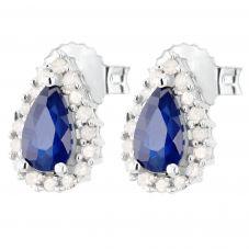 18ct White Gold Diamond Sapphire Pear Shape Earrings VE0S604 18KW/SAPPH