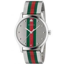 Gucci Mens G-Timeless Stainless Steel Green and Red Mesh Strap Watch YA126284