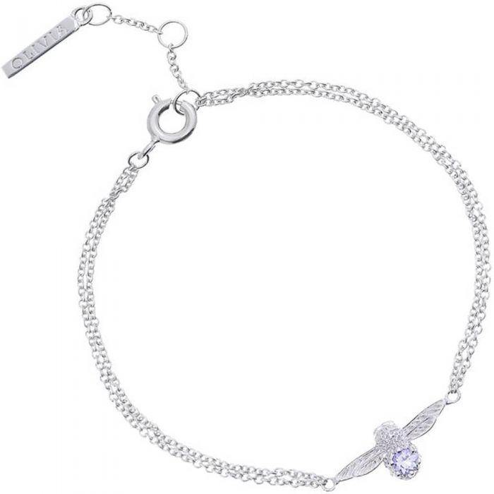 silver bracelet with Tanzanite centred bee