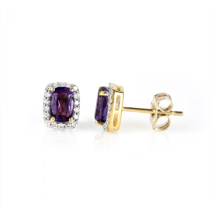 gold stud earrings with oval amethyst stones surrounded by white diamonds