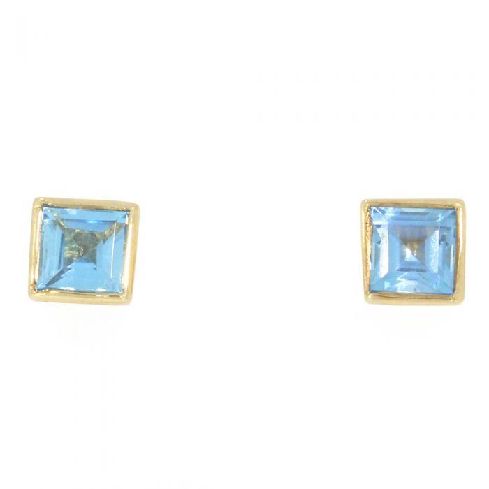blue topaz rubover stud earrings