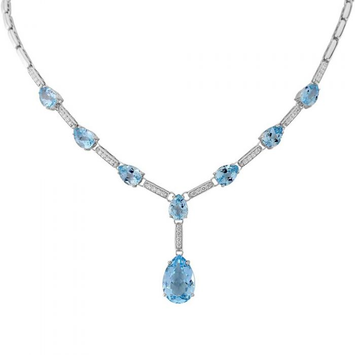 blue topaz and cubic zirconia necklace