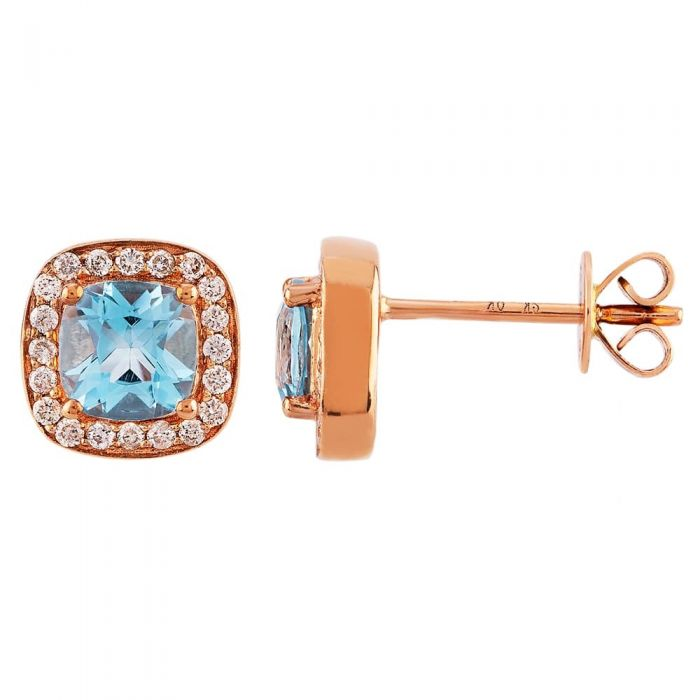 blue topaz and diamond cushion cluster earrings set in rose gold