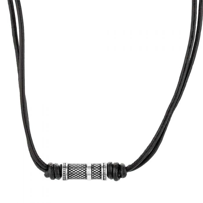 black leather two-strand necklace with stainless steel bead