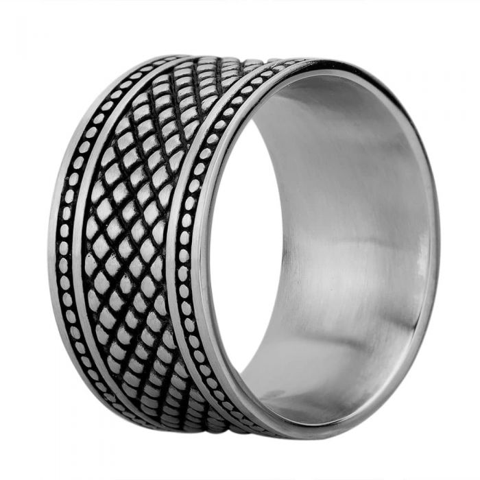 silver chunky ring with oxidised snake-skin deisgn