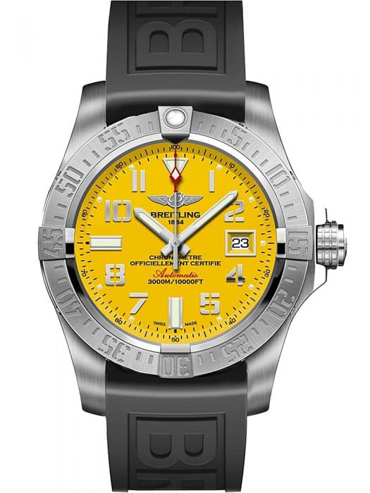 breitling watch with yellow dial and rubber straps