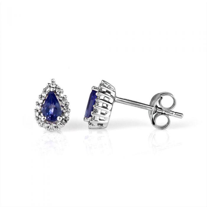 pear cut tanzanite earrings with diamonds