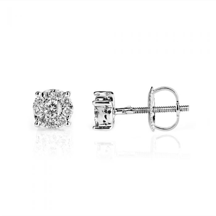 diamond cluster stud earrings made from white gold