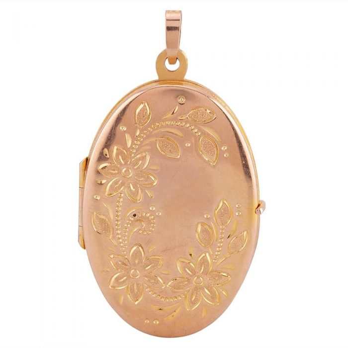 gold flat locket with floral engraving