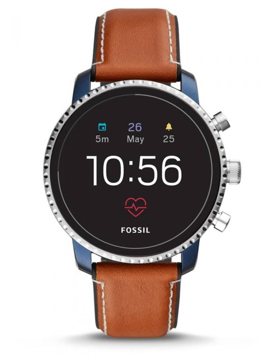 smartwatch with brown leather straps and touch-screen dial
