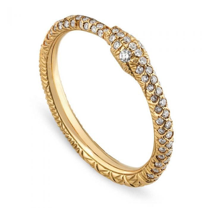 gold snake ring with diamonds