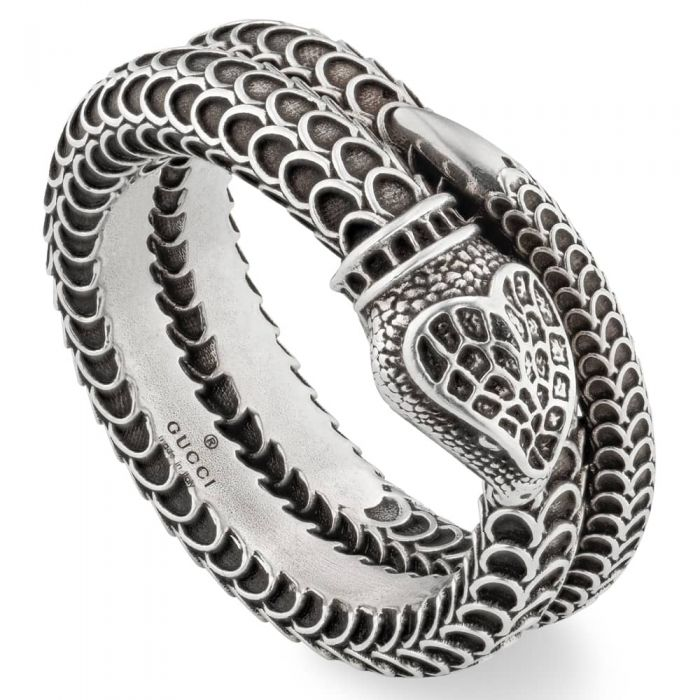 silver wrap-around snake ring