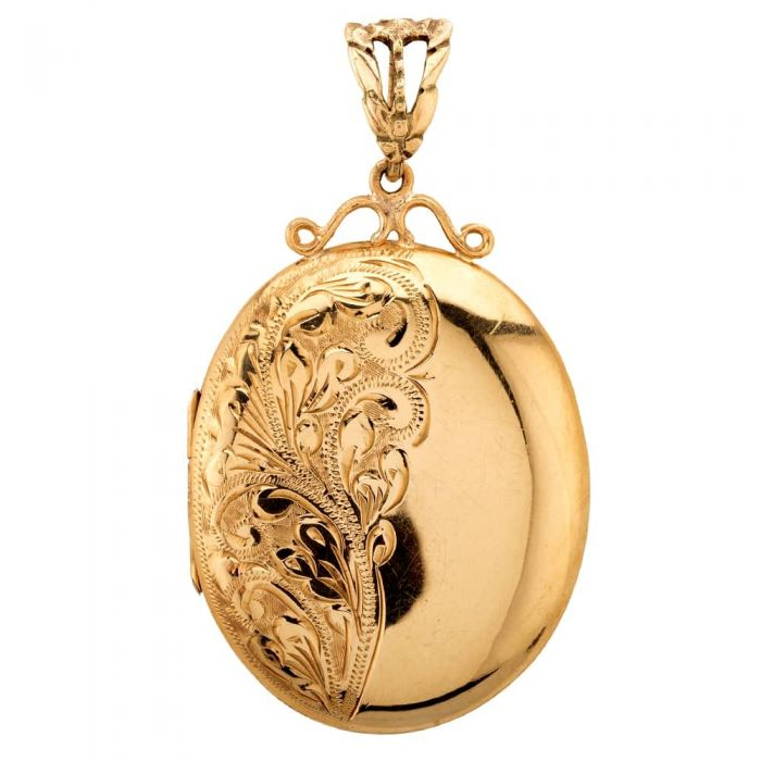 gold locket with engraved floral design on side