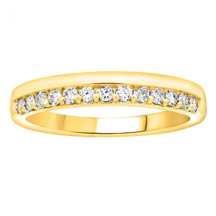 gold half eternity ring with white diamond stones