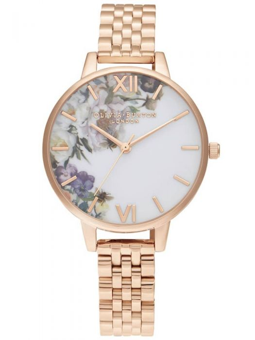 rose gold bracelet watch with a floral watercolour-style dial