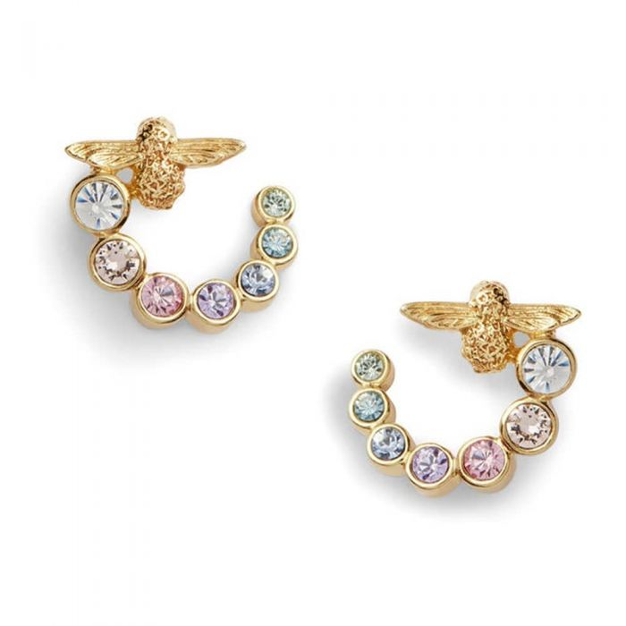 rose gold earrings with a bee stud and a swirl of rainbow-coloured stones
