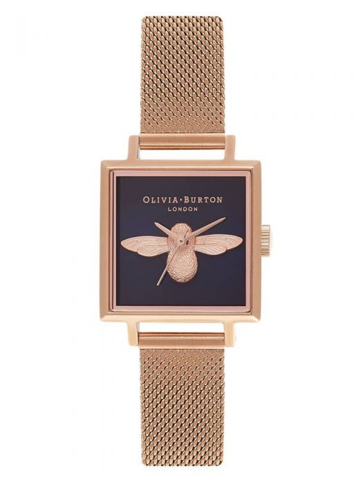 rose gold plated watch with square dial and bee in the middle