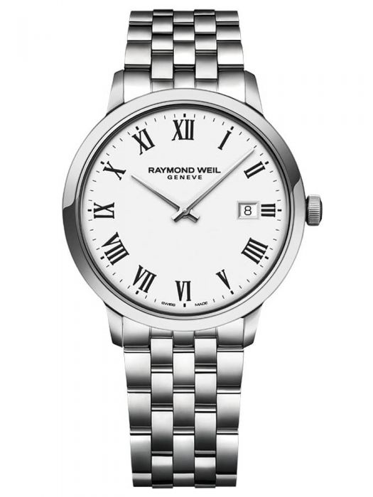 silver bracelet watch with a white dial with roman numerals