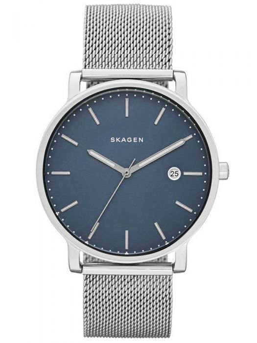 skagen watch with blue dial and mesh strap