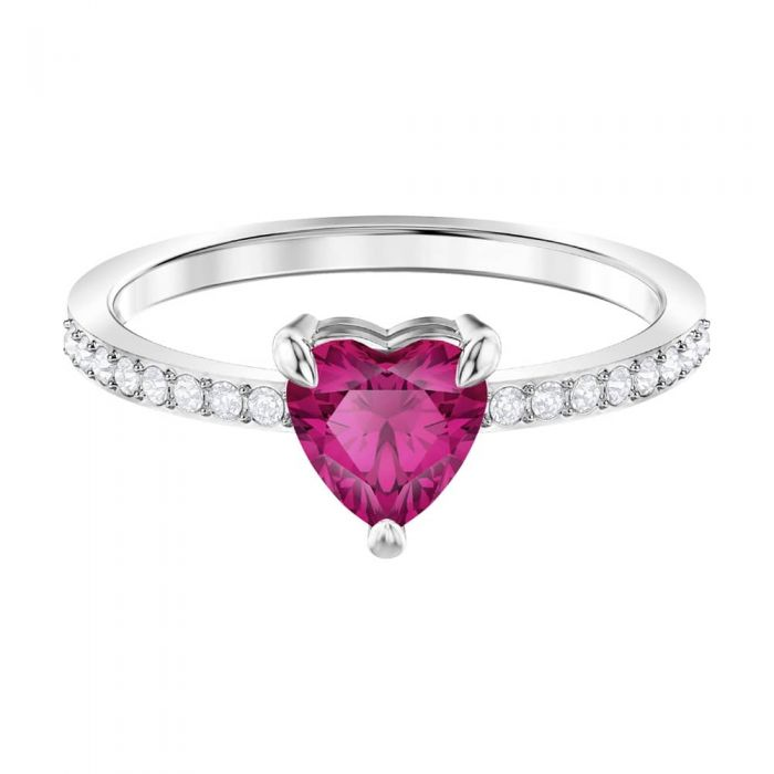 silver ring with red heart-shaped swarovski crystal