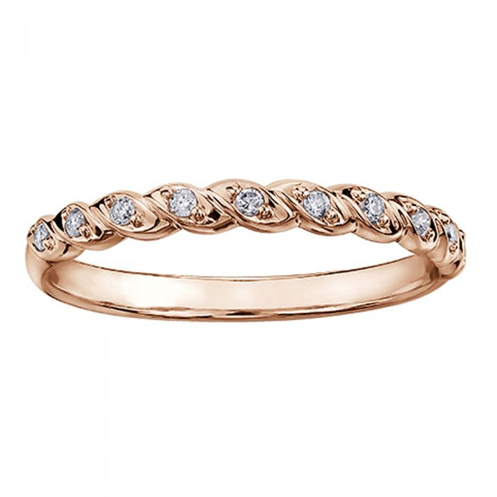 rose gold rope-style ring with diamonds