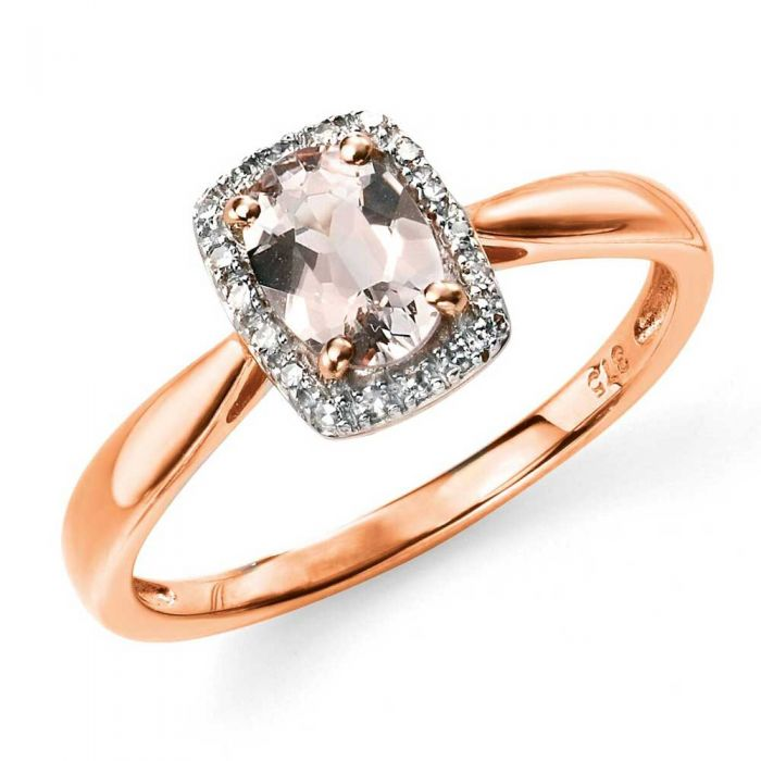 rose gold ring with pink morganite stone surrounded by a halo of white diamonds