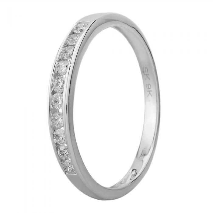 silver diamond channel set half eternity ring